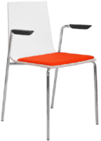 Elite Multiply Breakout Chair With Arms, White Frame & Upholstered Seat Pad - Beech Finish
