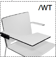 Elite Vice Versa Breakout Chair With Silver Frame & Writing Tablet