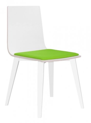 Elite Multiply Breakout Wooden Frame Chair With White Shell & Upholstered Seat Pad - Beech Leg